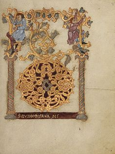 Sacramentary   Decorated Initial D        Attributed to Nivardus of Milan  Ottonian, Fleury, France, about 1000 - 1025  Tempera colors, gold, and silver on parchment    9 1/8 x 7 1/16 in.  MS. LUDWIG V 1, FOL. 9