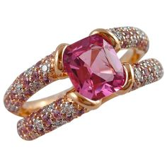 Jona Pink Spinel Sapphire Diamond Gold Cocktail Ring | From a unique collection of vintage cocktail rings at https://www.1stdibs.com/jewelry/rings/cocktail-rings/