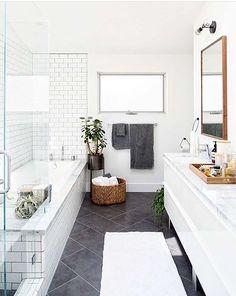 Modern bathroom renovation -- white subway tile and darker grout Bathroom Renos, Laundry In Bathroom, Bathroom Flooring, Bathroom Interior, Bathroom Grey, Bathroom Layout, Bathroom Remodeling, Bathroom Goals, Simple Bathroom
