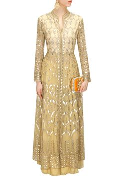 ANITA DONGRE Cream gota patti embroidered jacket with sharara pants available only at Pernia's Pop-Up Shop. Indian Attire, Indian Ethnic Wear, Pakistani Outfits, Indian Outfits, Ethnic Fashion, Asian Fashion, Indian Designer Suits, Indian Couture, Indian Dresses