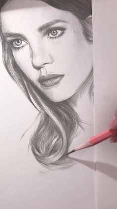 Drawing of a portrait of Natalia Vodianova. Work in progress.- Drawing of a portrait of Natalia Vodianova. Work in progress. 23 minutes of drawing in 41 seconds of time lapse video - Realistic Pencil Drawings, Pencil Art Drawings, Art Drawings Sketches, Drawing Art, Pencil Portrait Drawing, Drawing Portraits, Dress Drawing, Drawing Ideas, Natalia Vodianova