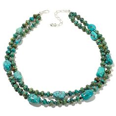 """Jay King Anhui Turquoise Bead 2-Row 18"""" Necklace"""