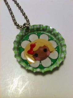 Green Lalaloopsy Doll Bottle cap Necklace by LillypadPark on Etsy, $4.95