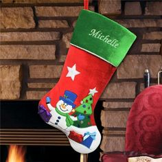 Personalized Embroidered Snowman Christmas Stocking. #personalizedchristmasstockingsforkids