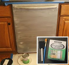 DIY - Cheap kitchen update, Paint your appliances with stainless steel paint Cheap Kitchen Updates, Cheap Kitchen Makeover, Updated Kitchen, Kitchen Paint, Kitchen Redo, Home Decor Kitchen, Kitchen Ideas, Kitchen Styling, Kitchen Furniture