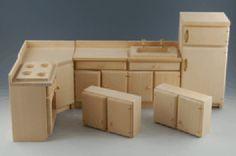 Puppenhaus Einbauküche 7 Teile Naturholz Möbel 1:12. Eigene farbliche Gestaltung ist möglich.