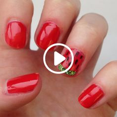 DIY Glitter Watermelon Nail Design #FingerNails #Beauty #NailDesign #NailPolish #NailArt #Glitter #beauty