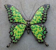 wanddecoratie 15 cm vlinder mozaiek 09690