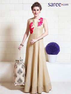 Cream Tussar Silk Suit with Embroidery Work