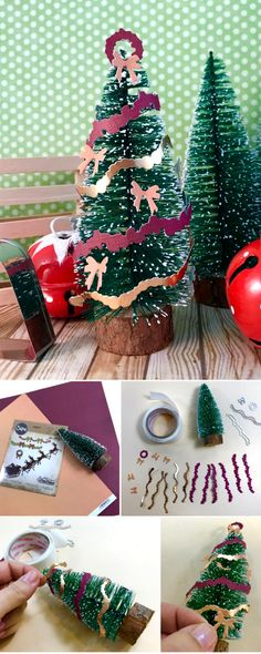 This is great Christmas craft tutorial that you can do with the kids this weekend. We'll show you how to make your own papercraft mini #Christmas tree using #Sizzix dies - #diecutting #diyproject  #crafts #diychristmas #christmasdecor #christmastree