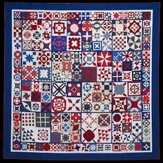 """""""A Baby Jane"""" Quilt by the Monterey Peninsula Quilters Guild - photo from Quilt Inspiration blog (10/08/10); More than 75 members of the guild helped sew """"104 medium and large Dear Jane blocks are combined in alternating square sets of 4 and 9 blocks. The center of the quilt is surrounded by a continuous border of 68 small blocks, for a grand total of 172."""""""