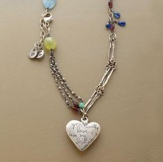 """Love's warmth keeps us all aglow, even in the depth of winter. Share the warmth with Jes MaHarry's handcrafted heartfelt necklace. It charms with blue aqua, chrysophrase, green and red garnets and bits of blue kyanite. Made in USA. Exclusive. Approx. 26""""L."""
