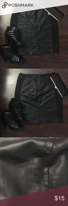 "NY and Co pencil stretch faux leather black skirt NY and Co stretch faux leather black pencil skirt   Size 12 small scratch on back of skirt as pictured. Approx 22"" New York & Company Skirts Pencil"