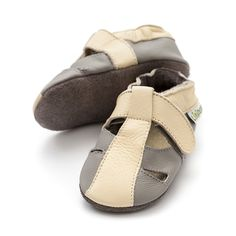 Baby Sandals, Baby Shoes, Barefoot, Leather Sandals, Soft Leather, Ankle Strap, Grey, Gray, Baby Boy Shoes