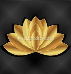 Gold lotus flower logo — Stock Illustration #90438746