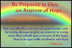 Be Prepared to Give Answer of Hope - 1 Peter 3:15