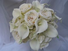 Bouquet: All White Flowers With Garden Roses, Calla Lilies and Hydrangea