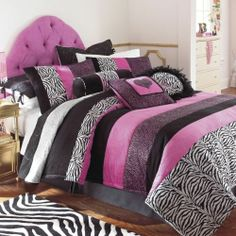 Girls Pink Black Zebra Animal Fur Polka Dot Bedding Comforter Sheets Queen Full | eBay