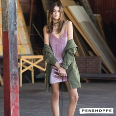 Kaia Gerber models slip dress and army green jacket in Penshoppe's Generation Now campaign