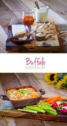 Buffalo Chicken Dip – Instead of frying buffalo chicken wings, try this much healthier take on your favorite football appetizer. Hot sauce, ranch seasoning and delicious chicken breast meat make a great dip for crackers, tortilla chips or celery sticks. Yummy Snacks, Snack Recipes, Cooking Recipes, Tailgate Appetizers, Tailgating Ideas, Fun Cooking, Cooking Ideas, Easy Starters, Ranch Seasoning