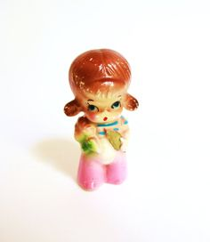 KITSCH PIGTAIL GIRL Overalls pink Japan figurine by lavibohemme,