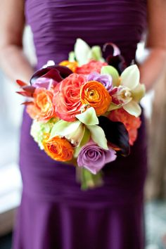 Pretty bouquet and dress.