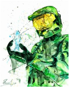 Halo Master Chief and Cortana Video Game Character Watercolor Print Halo Master Chief And Cortana, Halo Master Chief, Master Chief Costume, Video Game Bedroom, Halo Game, Video Game Characters, Video Game Art, Adult Costumes, Watercolor Print