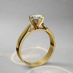 2f414e5ad03f Anillo de compromiso en oro amarillo 18k con diamante corte brillante 💎
