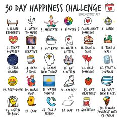 Start a 30 day happiness challenge. Log your happiness journey along the way. Montag Motivation, Vie Motivation, Self Care Bullet Journal, Bullet Journal Ideas Pages, How To Better Yourself, Take Care Of Yourself, Positive Thinking Tips, What To Do When Bored, Positive Self Affirmations