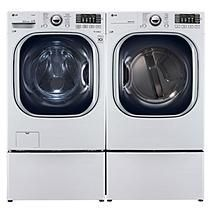 Ultra Large Capacity Front Load Washer with Laundry Pedestal, and Dryer (GAS) with Laundry Pedestals Package - White