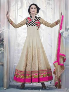 Cream Georgette Anarkali Suit with Embroidery and Handwork