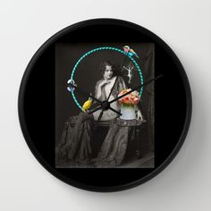 The Hoop Fairy & The Clown Canary Wall Clock by mentalembellisher - $30.00