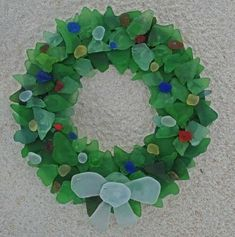 Sea Glass Wreath, from Lemon Tree Studio Beach Glass Wreath, Sea Glass Beach, Sea Glass Art, Sea Glass Jewelry, Sea Glass Mosaic, Stained Glass, Sea Glass Crafts, Sea Crafts, Seashell Crafts