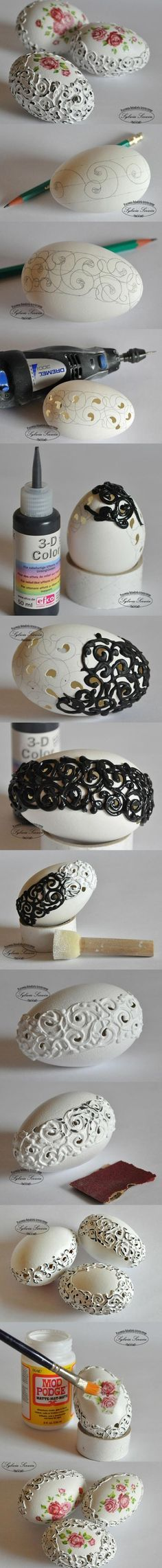 Stylish Easter Eggs. I love this idea and have all the stuff.