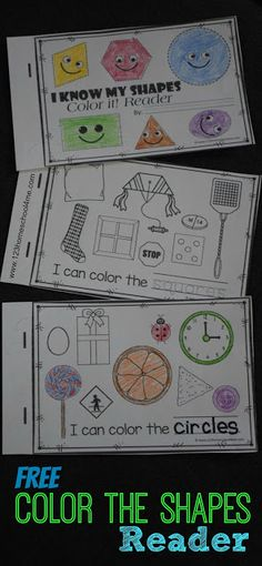 FREE Color the Shapes Reader - Includes shape worksheets for 9 shapes. Kids read a simple sentence trace the shape and color the appropriate shape. Perfect for math centers extra practice for toddler preschool prek kindergarten and first grade. Kindergarten Worksheets, In Kindergarten, Preschool Activities, Shape Worksheets For Preschool, Preschool Shape Activities, 2d Shapes Activities, Preschool Learning, Toddler Preschool, Fun Learning