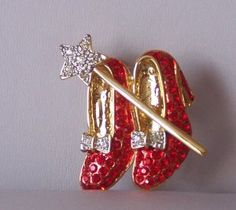 Red Pave High Heel Dorothy Shoes Star Crystal Brooch