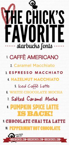 The Chicks Favorite Starbucks fonts  ~~ {11 Free fonts w/ easy download links}