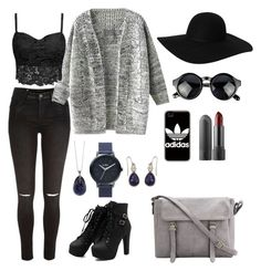 """""""Grey Fall"""" by kajsa15 on Polyvore featuring River Island, Monki, Nixon, Accessorize and adidas"""