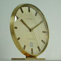ebay 1960s KIENZLE MID CENTURY Elegant BRASS TABLE DESK CLOCK CHRONOQUARTZ #Kienzle