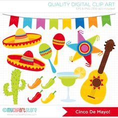 Digital Clipart - Cinco De Mayo / Mexico / Festival / Fiesta Clip Art / Digital Clipart - Instant Download by MyClipArtStore on Etsy https://www.etsy.com/listing/186182037/digital-clipart-cinco-de-mayo-mexico