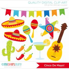 Digital Clipart - Cinco De Mayo / Mexico / Festival / Fiesta Clip Art / Digital Clipart - Instant Download by MyClipArtStore on Etsy https://www.etsy.com/listing/186182037/digital-clipart-cinco-de-mayo-mexico