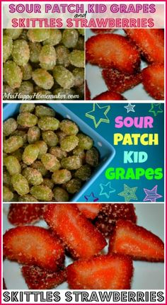 Love candy like I do? Now you can make Sour Patch Kid Grapes & Skittles Strawberries with just 2 ingredients & they taste just like the candy! | MrsHappyHomemaker.com @ThatHousewife