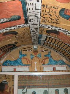 "Tomb of Sannedjem, Workers' Village, Luxor, Egypt. ""In absence of carvings, these wall paintings imbue Ancient Egypt's typical use of vibrant colours and simplistic shapes in its art"""