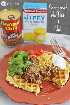 Cornbread waffles and chile.