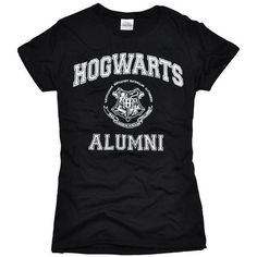 Hogwart Alumni Harry Potter Black T-shirt with defects ($9.99) ❤ liked on Polyvore