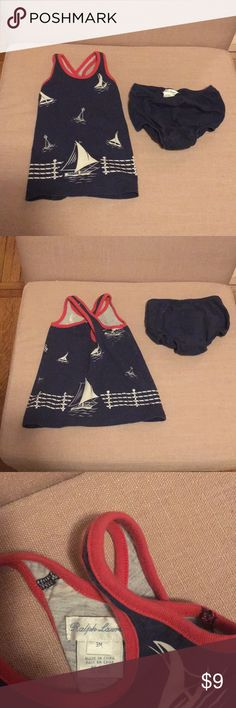 Ralph Lauren sailboat sundress and diaper cover Super cute, perfect for summer.  Mildly faded, no stains or rips. Ralph Lauren Dresses Casual