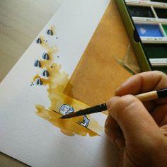 More print embellishing! #wip #watercolor #embellishedprint