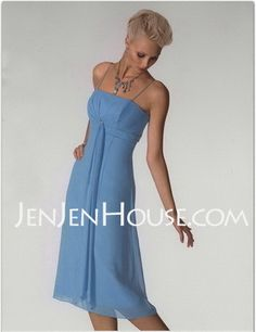 Bridesmaid Dresses - $84.99 - Empire Strapless Tea-Length Chiffon Bridesmaid Dresses With Ruffle (007001080) http://jenjenhouse.com/Empire-Strapless-Tea-length-Chiffon-Bridesmaid-Dresses-With-Ruffle-007001080-g1080