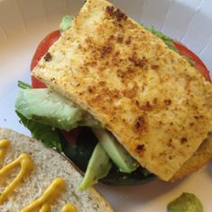 Crispy tofu sandwich Tofu Sandwich, Crispy Tofu, Sandwiches, Ethnic Recipes, Food, Meals, Yemek, Eten