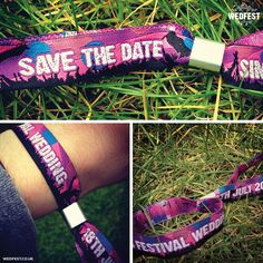 save the date festival wedding wristbands - http://www.wedfest.co/save-the-date-festival-wedding-wristbands/